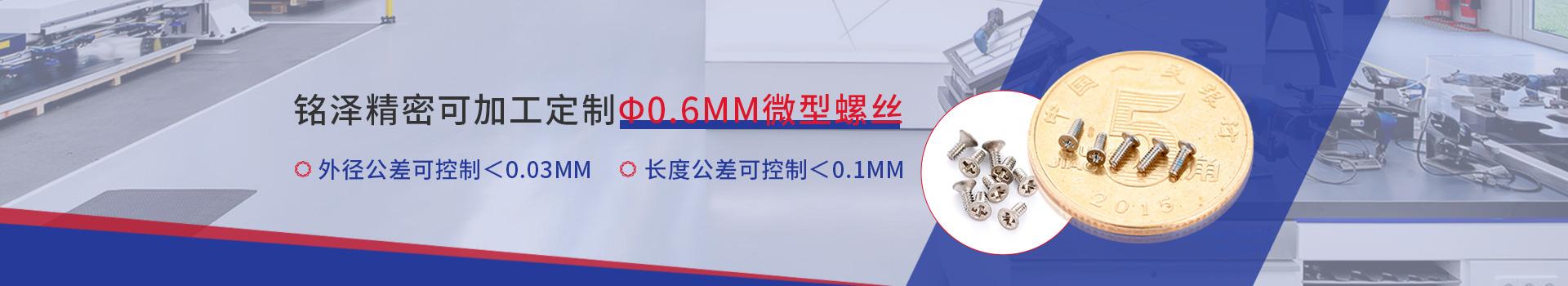 微型螺丝      铭泽精密可加工定制M0.6型螺丝      外径公差控制<0.03mm  长度公差控制<0.1mm